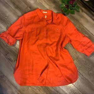 Chico's 3 coral orange 100% linen button tunic